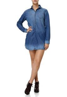 Vestido Curto Jeans Feminino Azul
