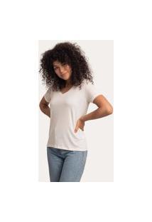 Camiseta Decote V Largo Viscolinho Off White