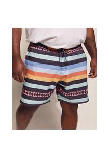 Bermuda Surf Masculina Pipe Plus Size Listrado Étnico Com Bolsos E Cordão Multicor
