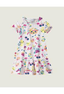 Vestido Piquenique Menina Zig Zig Zaa Branco - 1