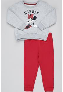 Conjunto Infantil Minnie De Blusão Em Moletom Cinza Mescla + Calça Vermelha