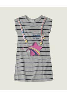 Vestido Estrela Meia Malha Malwee Kids Cinza - 3
