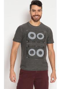 Camiseta Em Flamê - Cinzaindividual
