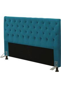 Cabeceira Cama Box Casal King 195Cm Cristal Suede Azul - Js Móveis