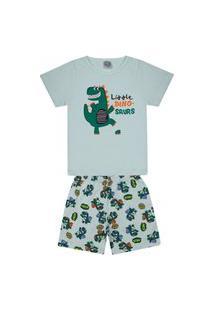 Conjunto Pijama Infantil Menino Em Meia Malha Camiseta Verde Claro E Bermuda Rotativa - Kontrato