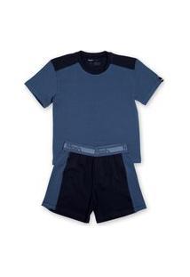 Conjunto Pijama Mash Infantil Algodão Camiseta Bermuda Azul Marinho G