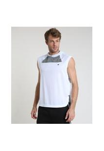 Regata Masculina Esportiva Ace Com Capuz E Recortes Branca