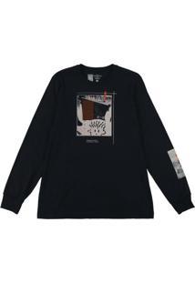 Camiseta Manga Longa Estampada Preto
