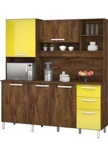 Armário De Cozinha Diamante 5 Portas Malbec Com Amarelo Vitamov