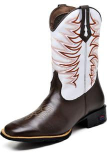 Bota Texana Fak Boots Cano Longo Bordado Branca - Kanui