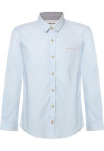 Camisa Ml Ckj Listrada Com Silk Logo - Azul Claro - 12