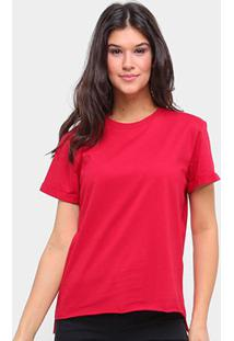 Camiseta Colcci Básica Ampla Feminina - Feminino-Vermelho