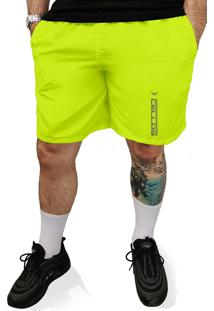 Bermuda Tactel Neon Cellos Racer Premium Verde Limão