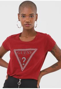 Camiseta Guess Lettering Vermelha - Vermelho - Feminino - Algodã£O - Dafiti