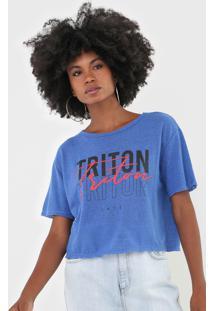 Camiseta Triton Lettering Azul - Azul - Feminino - Poliã©Ster - Dafiti