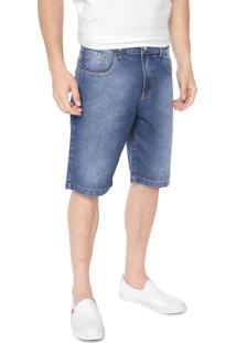 Bermuda Jeans Polo Wear Reta Estonada Azul - Kanui