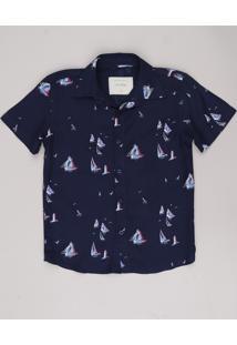 Camisa Infantil Estampada De Barcos Manga Curta Azul Marinho