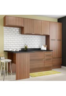 Cozinha Compacta Calábria 11 Portas Com Tampo E Rodapé Nogueira/Malt - Multimóveis
