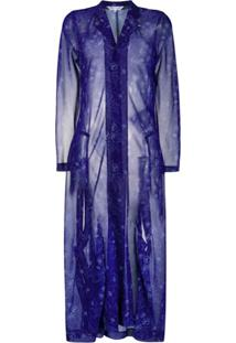 Comme Des Garçons Comme Des Garçons Casaco Translúcido Com Estampa Floral - Azul