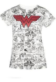 Camiseta Estampada Feminina Mulher Maravilha - Feminino-Off White