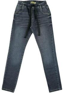 Calça Infantil Look Jeans Moletom Jeans Masculina - Masculino-Azul