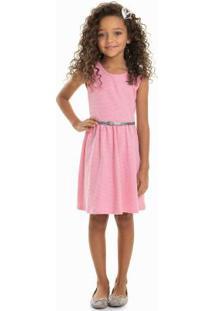 Vestido Com Cinto Festa Lurex Rosa