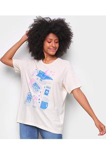 Camiseta T-Shirt Cantão Boyfriend Chef Feminina - Feminino-Off White