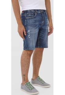 Bermuda Jeans Colcci Reta Destroyed Azul