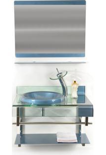 Gabinete De Vidro 70Cm Para Banheiro Turquia Azul Ekasa