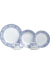 Aparelho De Jantar Com 42 Peças Em Porcelana Azul Sintra 8193 Lyor Classic