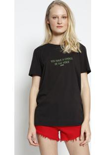 "Camiseta ""You Have A Choice Be The Voice"" - Preta & Verdcolcci"