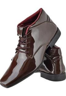 Bota Social Cr Shoes Verniz Masculina - Masculino-Marrom