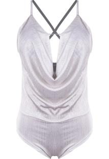 Body Outlet Dri Lurex Bojo Gargantilha Chocker Metalizado Branco