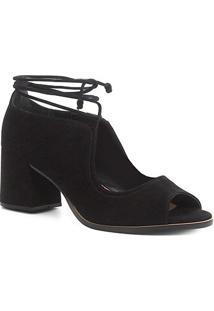 Peep Toe Shoestock Nobuck Tiras - Feminino-Preto