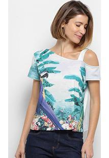 Camiseta Lança Perfume Decote Assimétrico Tropical Feminina - Feminino-Verde