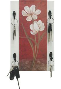 Porta Chave Floral 25X16Cm Preto Kapos