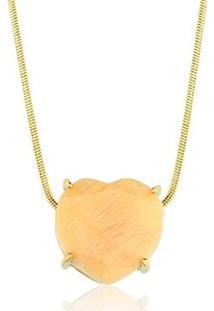 Colar Toque De Joia Coração Pedra Natural Amazonita Nude - Feminino-Dourado