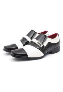 Sapato Social Leve Verniz Renovally Preto E Branco