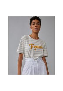 Amaro Feminino T-Shirt Regular Tropical State Of Mind, Listrado Fino