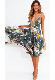 Vestido Midi Floral Rodado Laço
