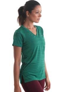 Camiseta Líquido Gola V Mescla Feminina - Feminino-Verde
