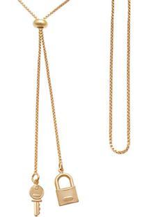 Gargantilha Prata Mil Gravatinha P/ Chave E Cadeado Dourado - Dourado - Feminino - Dafiti