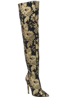 Bota Over The Knee Com Bordado- Preta & Dourada- Salluiza Barcelos