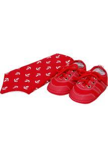 Kit Bebê Sapatinhos Baby Vermelho