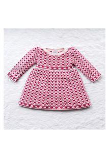 Vestido Bebê Tricot Rosa Coraçáo Pérolas 6 A 9 Gráo De Gente Rosa