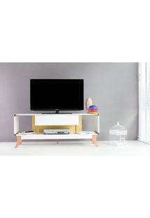 Rack Tv Retrô Vintage Branco/Amarelo Prestage 1 Gaveta 1,4M Mdf Com Pés Madeira Cor Jatobá - 140X40X55 Cm