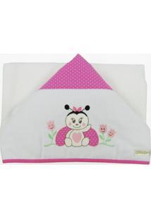 Toalha De Banho Com Capuz Bordada Joaninha - Feminino-Branco