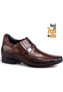 Sapato Social Couro Rafarillo Masculino Ajuste Elástico Leve - Masculino-Mogno