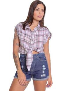 Camisa Le Julie Cropped Xadrez Feminina - Feminino-Lilás