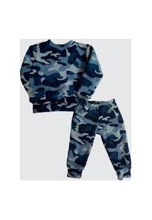 Pijama Térmico Inverno Infantil Camuflado Azul Fit And Fly 8 A 12 Anos